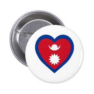 Corazón de la bandera de Nepal Pin