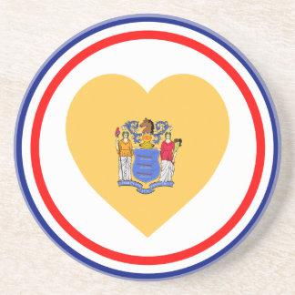 Corazón de la bandera de New Jersey Posavasos Personalizados