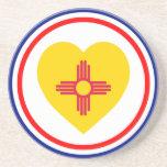 Corazón de la bandera de New México Posavasos Manualidades