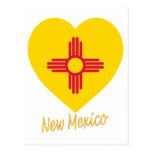 Corazón de la bandera de New México Tarjeta Postal