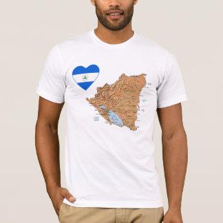Corazón de la bandera de Nicaragua y camiseta del