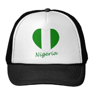Corazón de la bandera de Nigeria Gorros Bordados