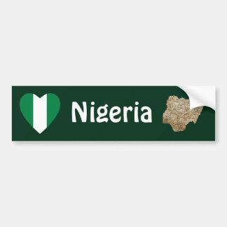 Corazón de la bandera de Nigeria + Pegatina para e Pegatina Para Auto