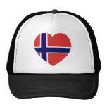 Corazón de la bandera de Noruega Gorra