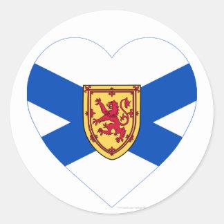 Corazón de la bandera de Nueva Escocia Pegatina Redonda