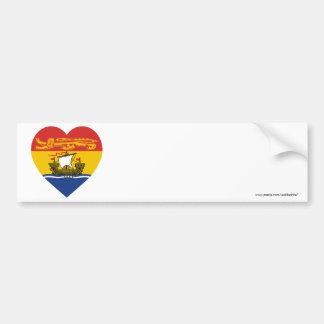 Corazón de la bandera de Nuevo Brunswick Pegatina Para Auto