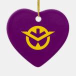 Corazón de la bandera de Okayama Adornos De Navidad