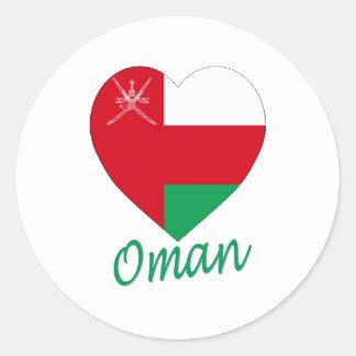 Corazón de la bandera de Omán Pegatina Redonda