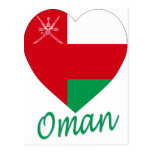Corazón de la bandera de Omán Tarjeta Postal