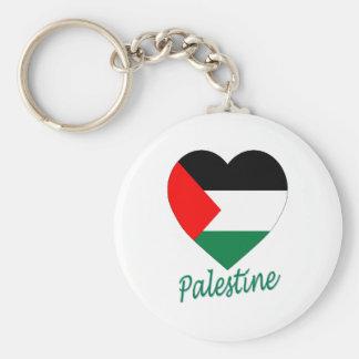 Corazón de la bandera de Palestina Llavero Redondo Tipo Pin