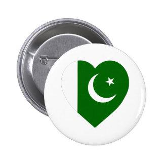 Corazón de la bandera de Paquistán Pin Redondo De 2 Pulgadas