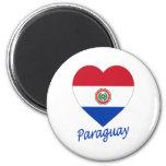 Corazón de la bandera de Paraguay Imán