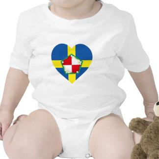 Corazón de la bandera de Pembrokeshire Trajes De Bebé