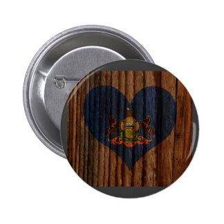 Corazón de la bandera de Pennsylvania en el tema Pin Redondo 5 Cm