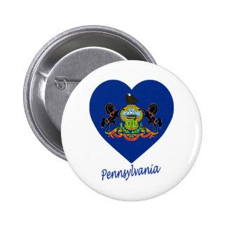 Corazón de la bandera de Pennsylvania Pin Redondo 5 Cm