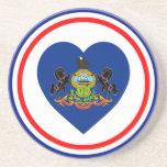 Corazón de la bandera de Pennsylvania Posavasos Personalizados