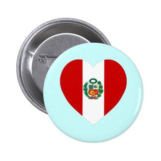 Corazón de la bandera de Perú Pins