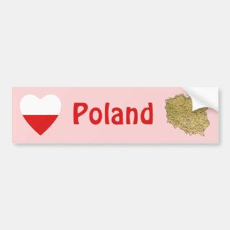 Corazón de la bandera de Polonia + Pegatina para e Pegatina De Parachoque