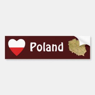 Corazón de la bandera de Polonia + Pegatina para e Etiqueta De Parachoque