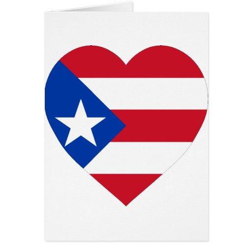 Corazón de la bandera de Puerto Rico Tarjetón