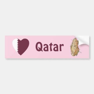 Corazón de la bandera de Qatar + Pegatina para el  Pegatina De Parachoque