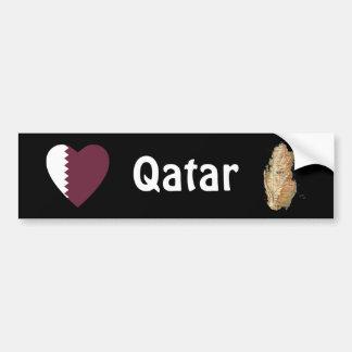 Corazón de la bandera de Qatar + Pegatina para el  Etiqueta De Parachoque