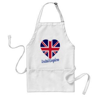 Corazón de la bandera de Reino Unido Delantales
