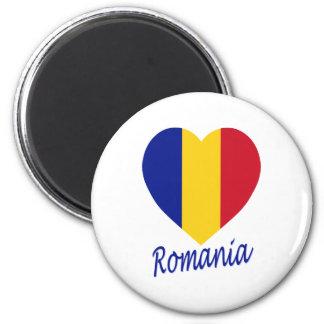 Corazón de la bandera de Rumania Imán Redondo 5 Cm