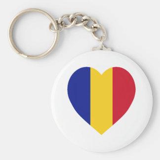 Corazón de la bandera de Rumania Llavero