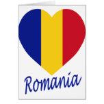 Corazón de la bandera de Rumania Tarjetón