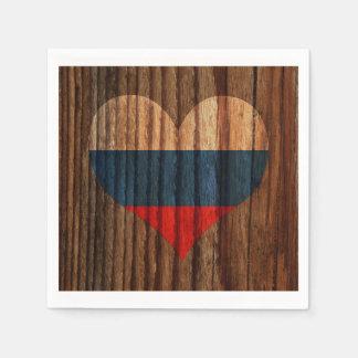 Corazón de la bandera de Rusia en el tema de Servilletas Desechables