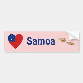 Corazón de la bandera de Samoa + Pegatina para el  Pegatina Para Auto