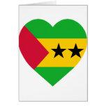 Corazón de la bandera de Sao Tome y de Principe Felicitación