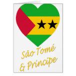 Corazón de la bandera de Sao Tome y de Principe Tarjeton