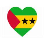 Corazón de la bandera de Sao Tome y de Principe Postal