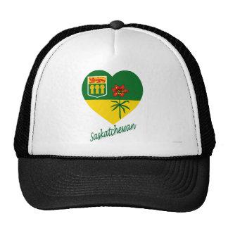 Corazón de la bandera de Saskatchewan con nombre Gorras
