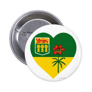 Corazón de la bandera de Saskatchewan Pin Redondo De 2 Pulgadas