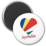 Corazón de la bandera de Seychelles Imán De Frigorífico