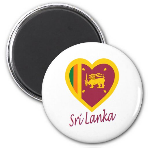 Corazón de la bandera de Sri Lanka Imán Redondo 5 Cm