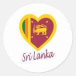 Corazón de la bandera de Sri Lanka Etiqueta Redonda