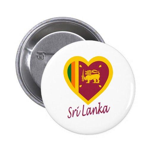 Corazón de la bandera de Sri Lanka Pins