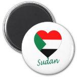 Corazón de la bandera de Sudán Imanes Para Frigoríficos