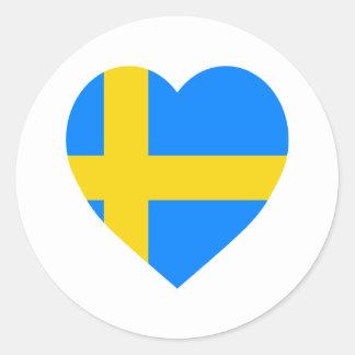 Corazón de la bandera de Suecia Etiqueta Redonda