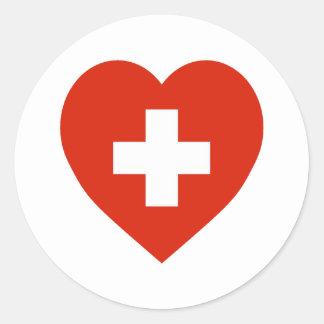 Corazón de la bandera de Suiza Pegatina Redonda