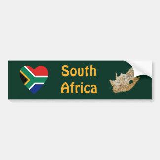 Corazón de la bandera de Suráfrica + Pegatina para Pegatina De Parachoque