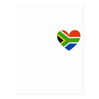 corazón de la bandera de Suráfrica Tarjetas Postales