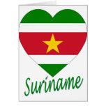 Corazón de la bandera de Suriname Felicitaciones