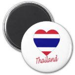 Corazón de la bandera de Tailandia Imanes De Nevera
