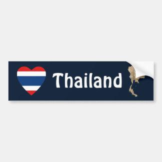 Corazón de la bandera de Tailandia + Pegatina para Etiqueta De Parachoque