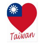 Corazón de la bandera de Taiwán (la República de C Tarjeta Postal